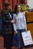 Добитница прве награде Ана Ћоровић са проф. Зоном Мркаљ